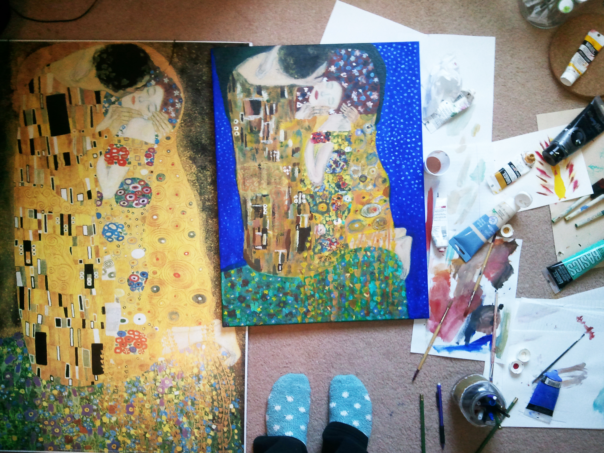gustav klimt the kiss original painting images galleries with a bite. Black Bedroom Furniture Sets. Home Design Ideas